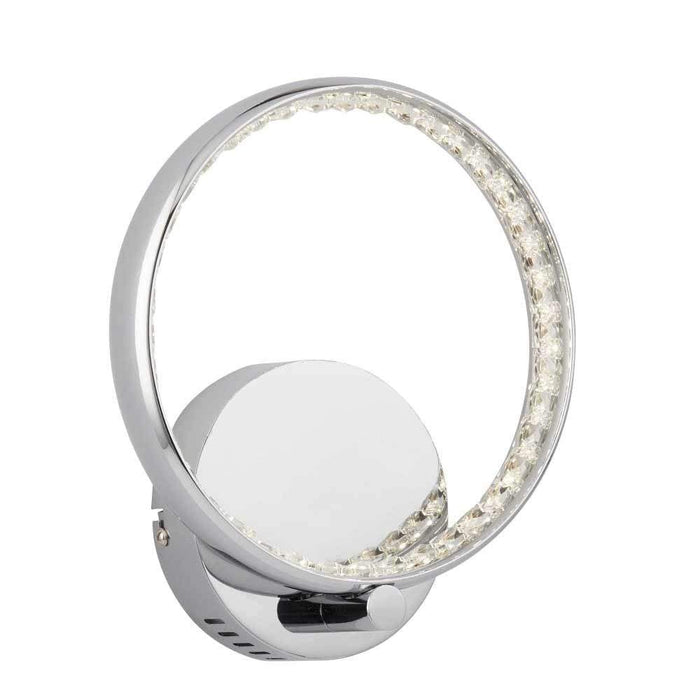 LED Ring Wall Bracket Chrome Clear Crystal Decoration