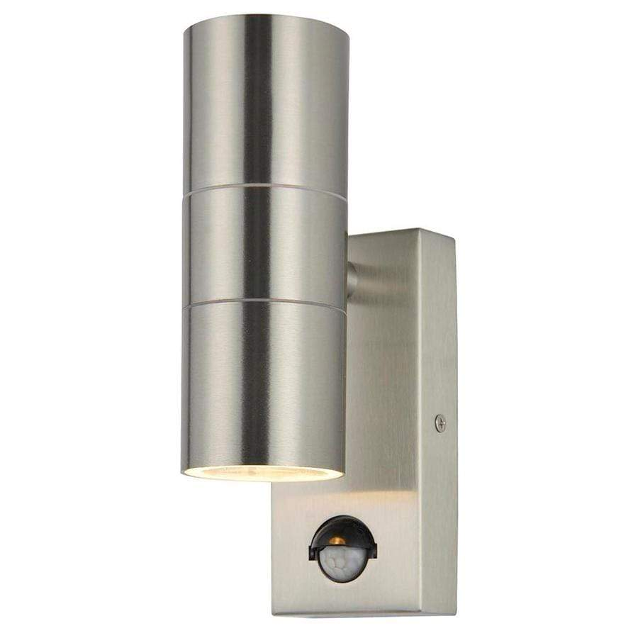 Leto 2 Light Stainless Steel Outdoor Up and Down Wall Light with PIR Sensor