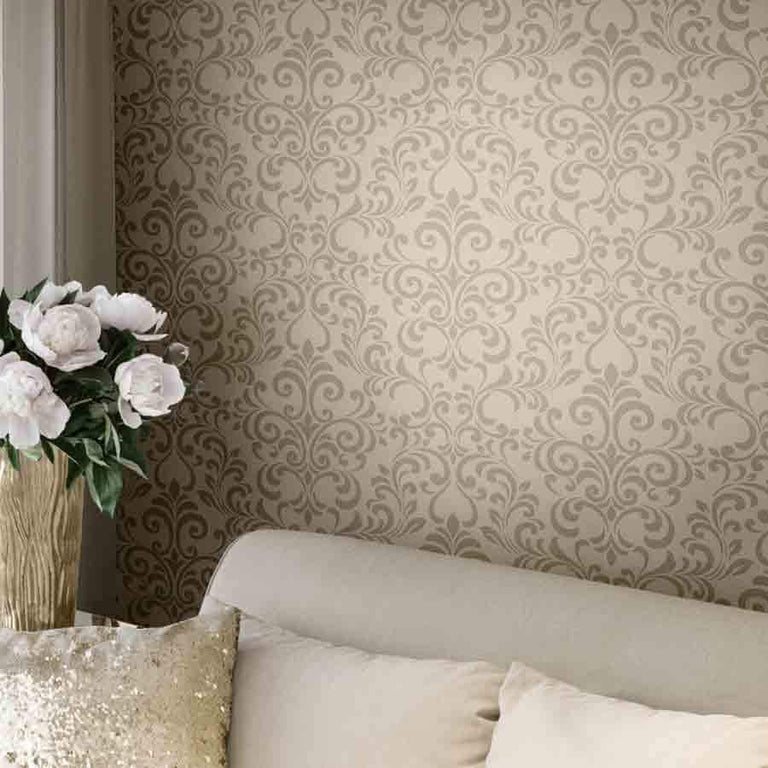 Lipsy London Luxe Damask Champagne Glitter Wallpaper - 144802