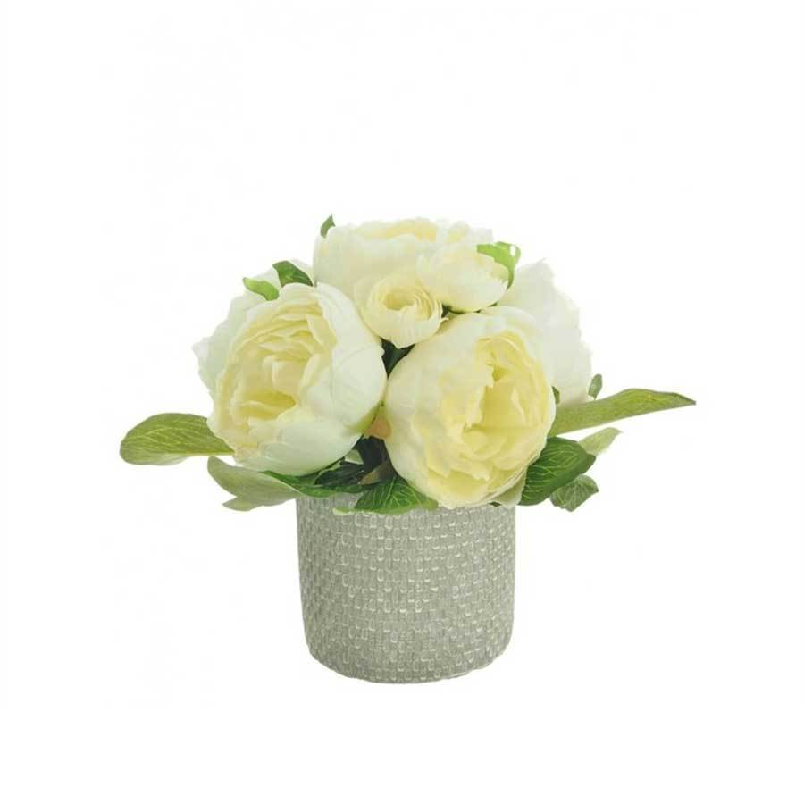 Lotus Artificial Floral Arrangement Cream Potted Eternity Rose