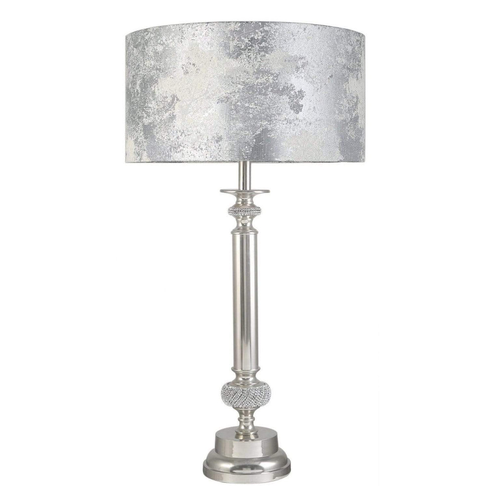 Medium Nickel Diamante Candlestick Table Lamp With Marble Grey Shade
