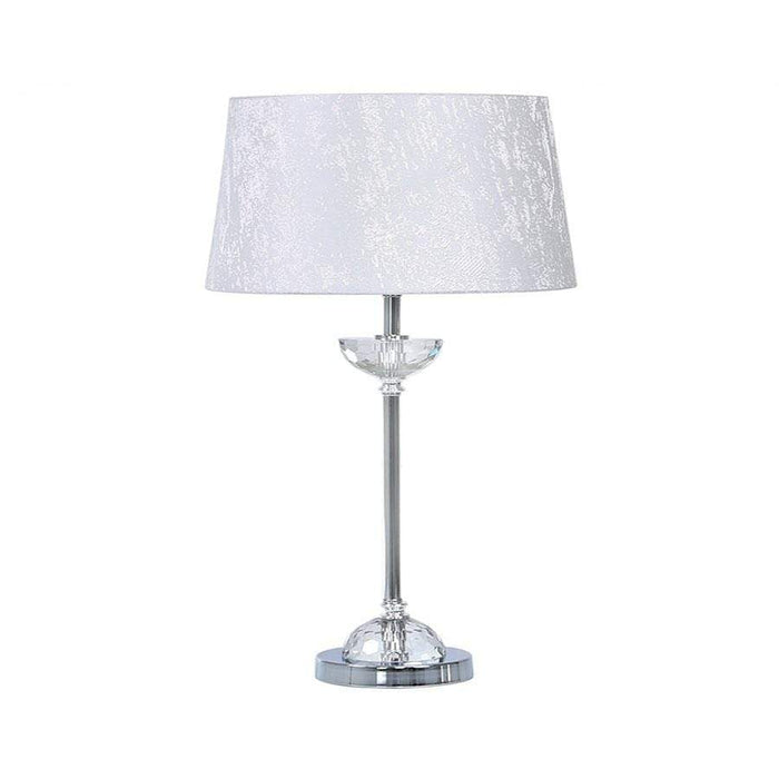 Metal And Glass Table Lamp With White Cotton Shade