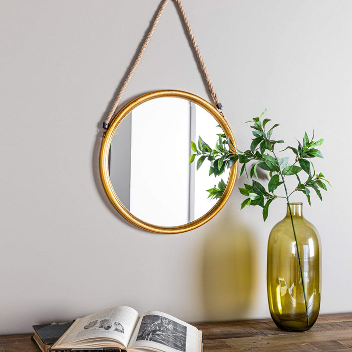 Metallic Round Gold Mirror