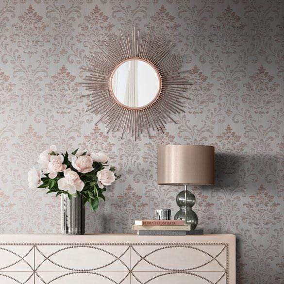 Muriva Charice Rose Gold Damask Wallpaper - 702004