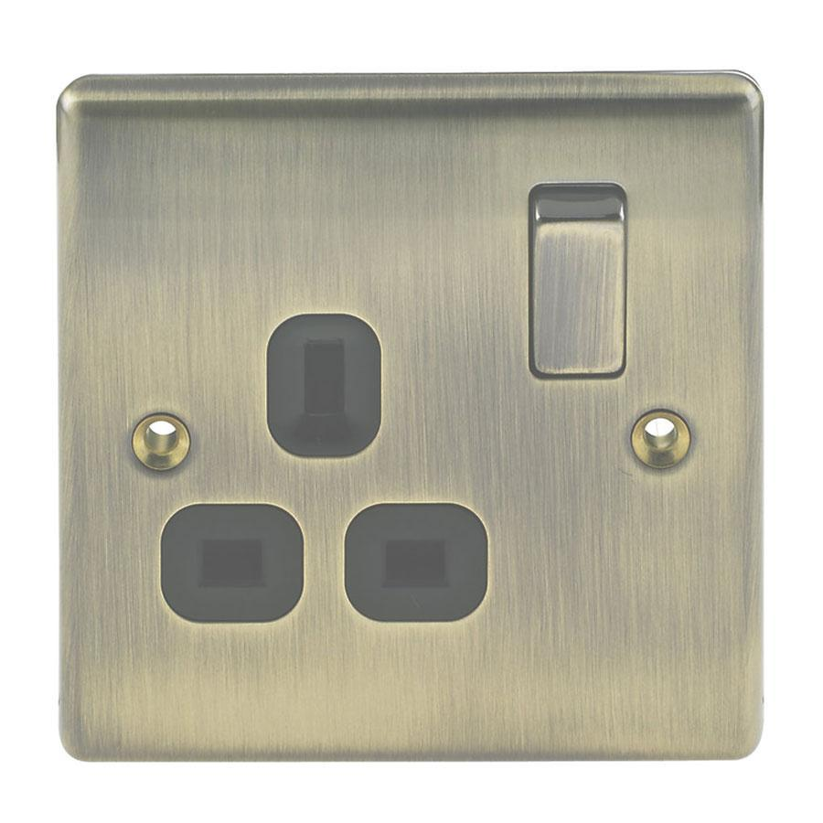 Nexus 13A Antique Brass Double Pole Switched Socket