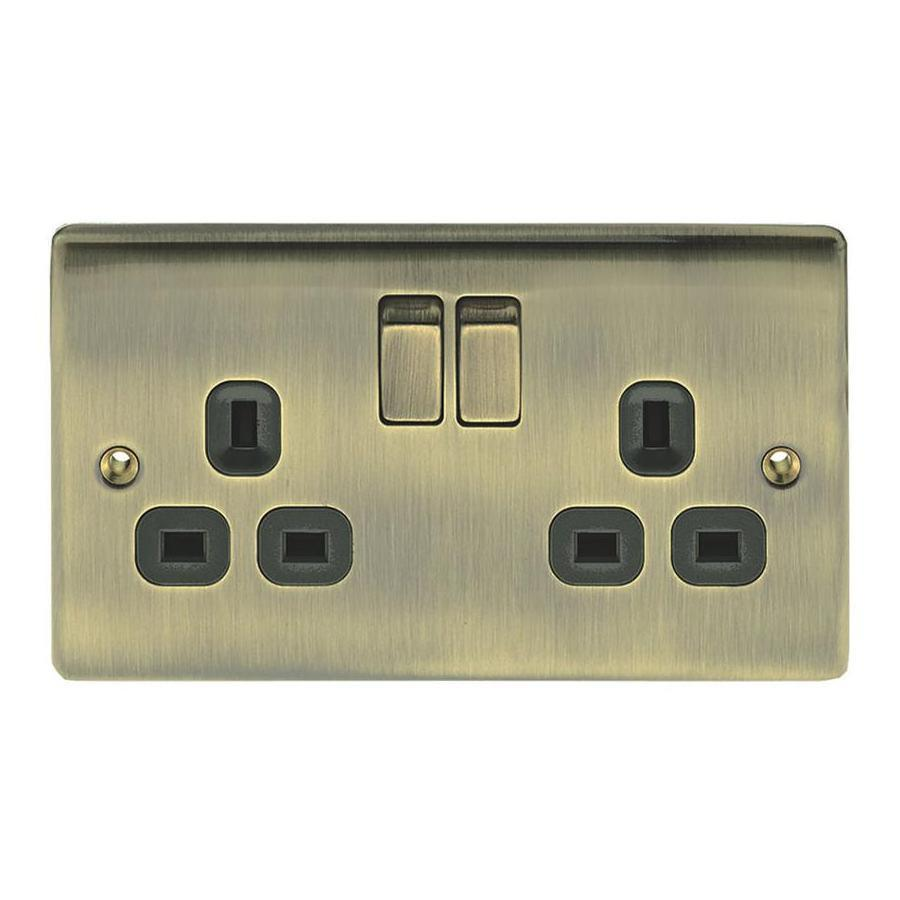 Nexus 13A Antique Brass Switched Double Socket