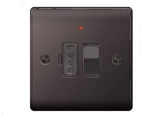 Nexus Metal Black Nickel Switched Fuse Connection Units With Neon