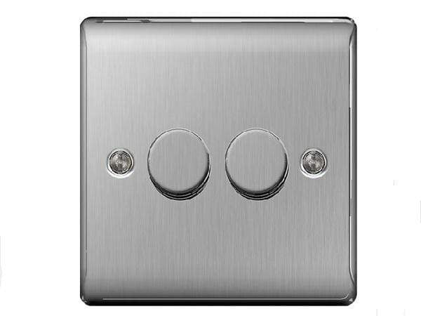 Nexus Metal Brushed Steel Double Dimmer Switch
