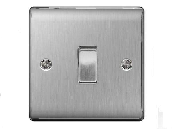 Nexus Metal Brushed Steel Single Switch