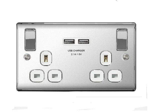 Nexus Metal Polished Chrome Double Socket And Double USB Port