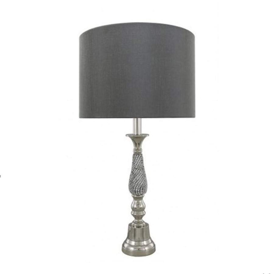 Nickel Diamante Candlestick Table Lamp With Grey Shade