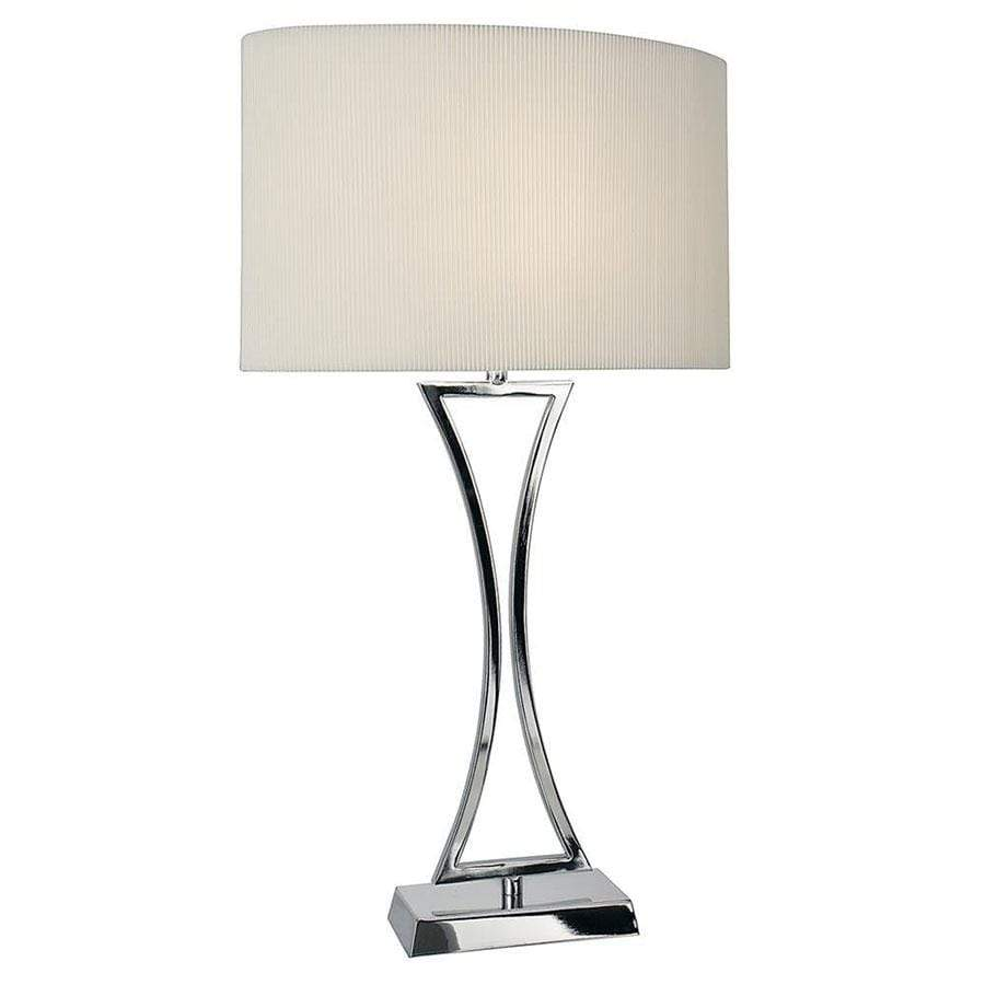 Oporto Wavy Table Lamp Polished Chrome Complete With Cream Oval Shade