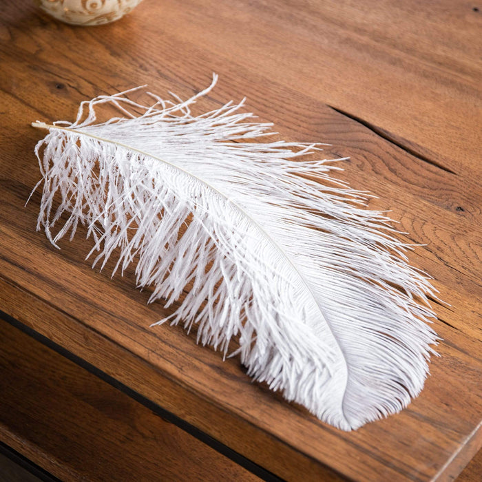 Ostrich Feather White Christmas Decoration