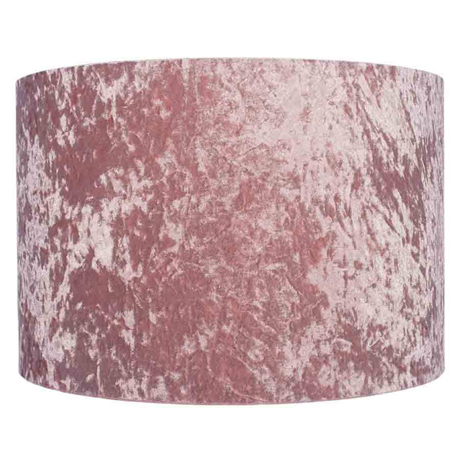 Pacific Lifestyle Blush Pink Crushed Velvet Cylinder Lamp Shade - 40cm