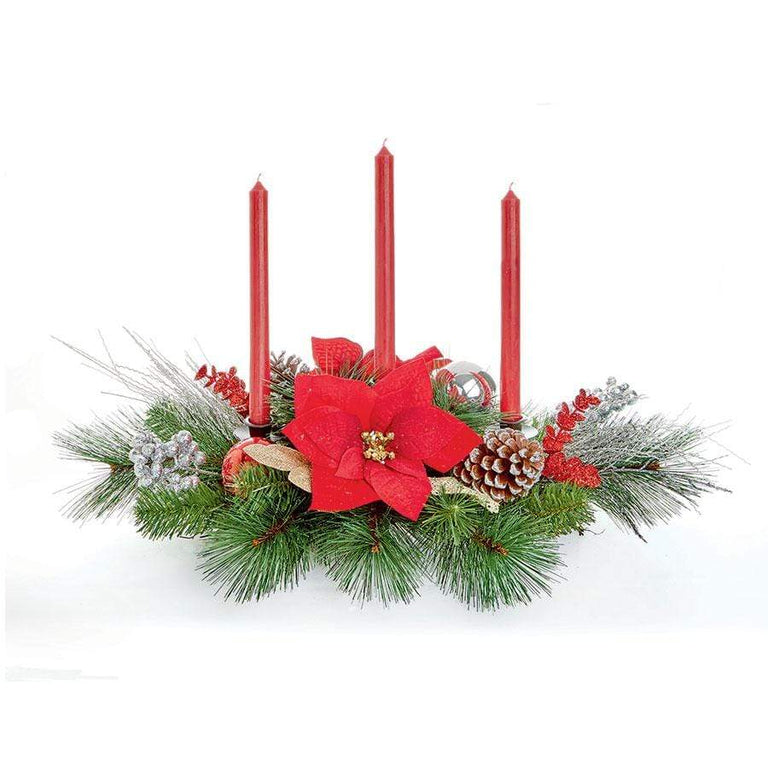 Premier Red Candle Holder Christmas Centerpiece
