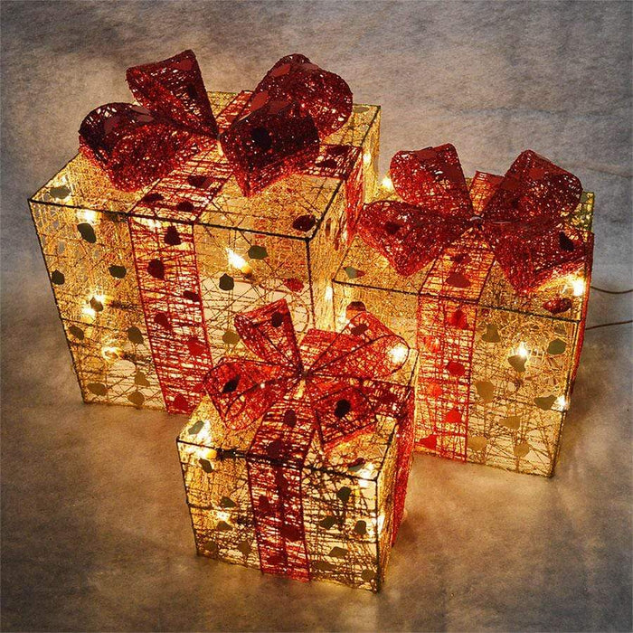 Premier Set of 3 Gold and Red Illuminated Christmas Parcels
