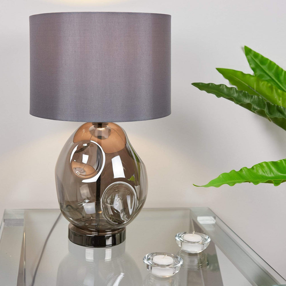 Quinn Smoked Glass Table Lamp with Grey Shade