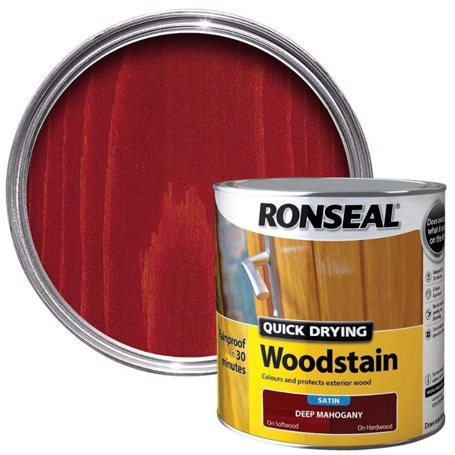 Ronseal Quick Drying Deep Mahogany Satin Wood Stain 2.5 Litre
