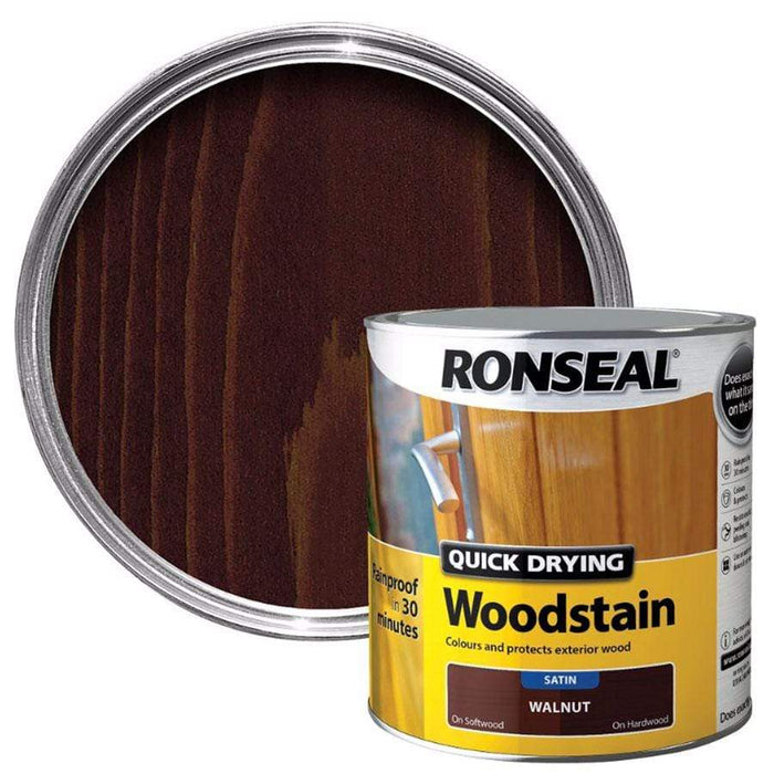 Ronseal Quick Drying Walnut Satin Wood Stain 750ml