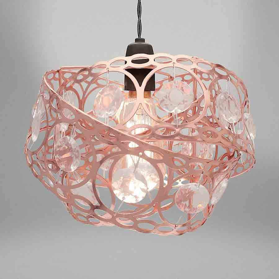 Rose Gold Gem Wrap Metal Non Electrical Light Shade Pendant