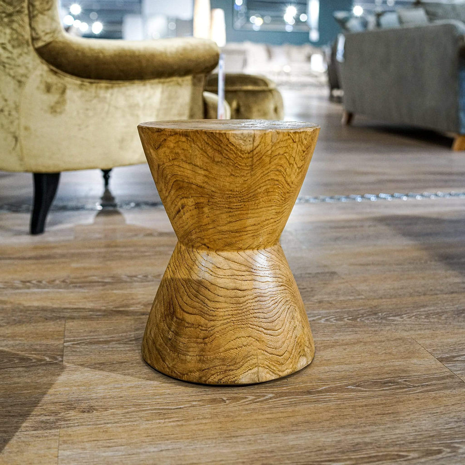 Round Bobbin Stool / Side Table Natural