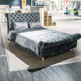 Savoy Grey King Size Velvet Bed Savoy Grey King Size Velvet Bed