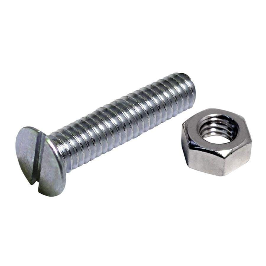 Select Slotted Countersunk BZP Machine Screws and Nuts