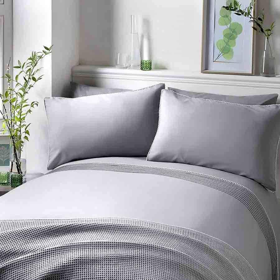Serene Silver and White Pom Pom Single Duvet Set