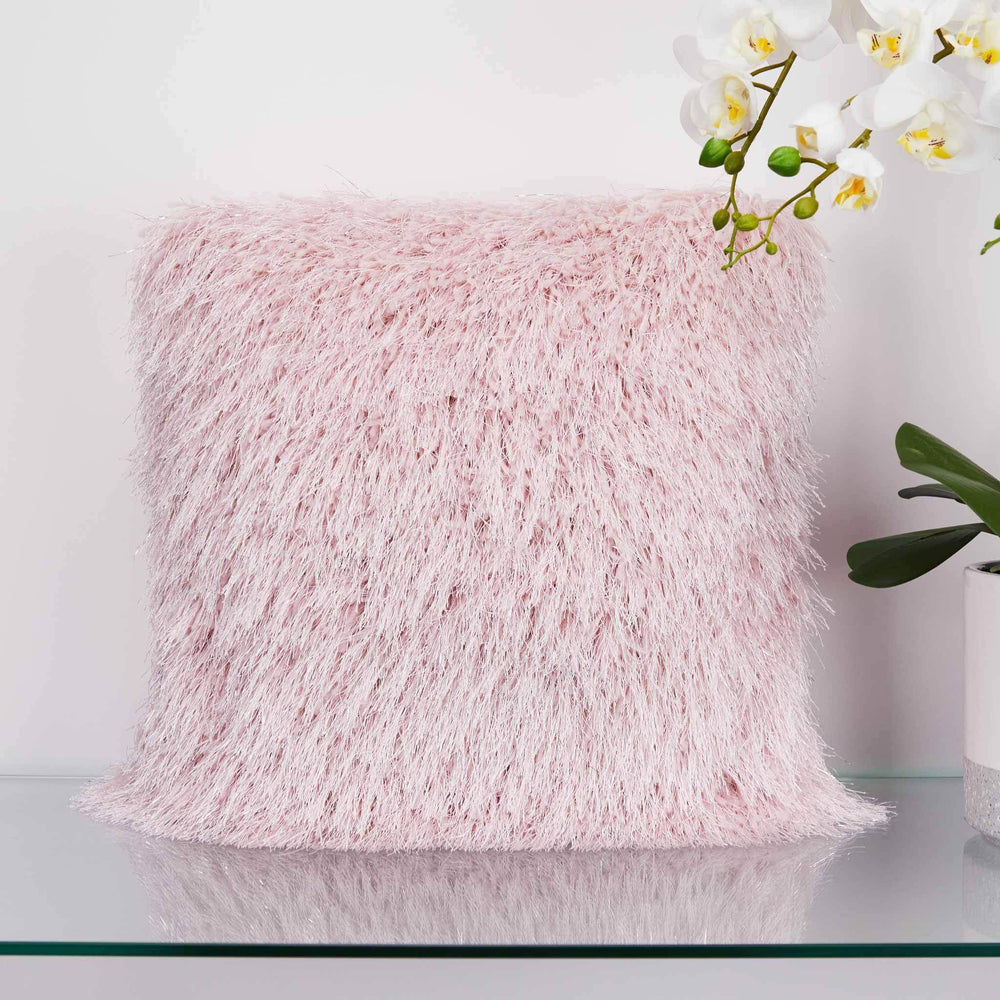 Shaggy Pink Glitter Cushion