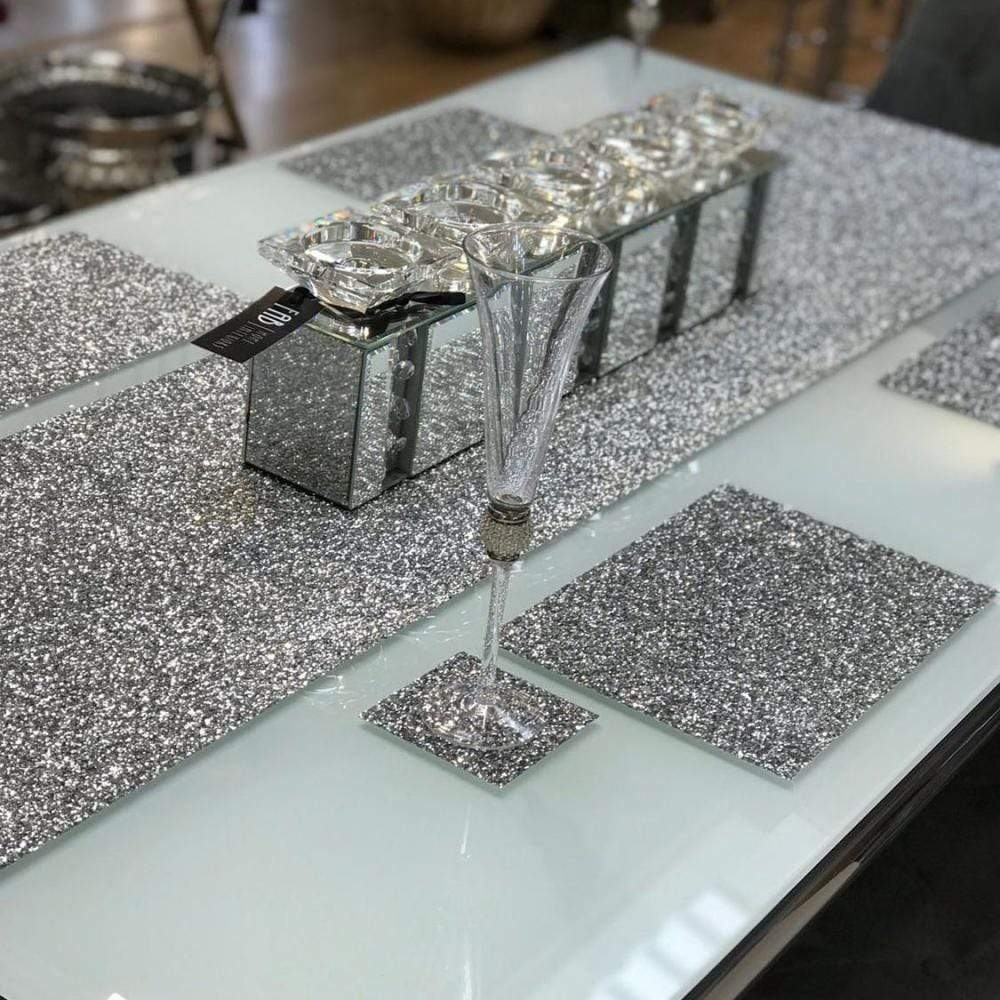 SHH Silver Glitter Placemats - 4 Pack