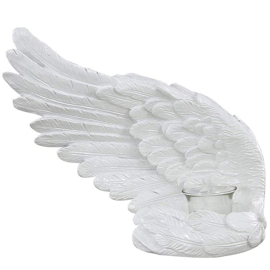 Shiny White Left Angel Wing Tealight Holder