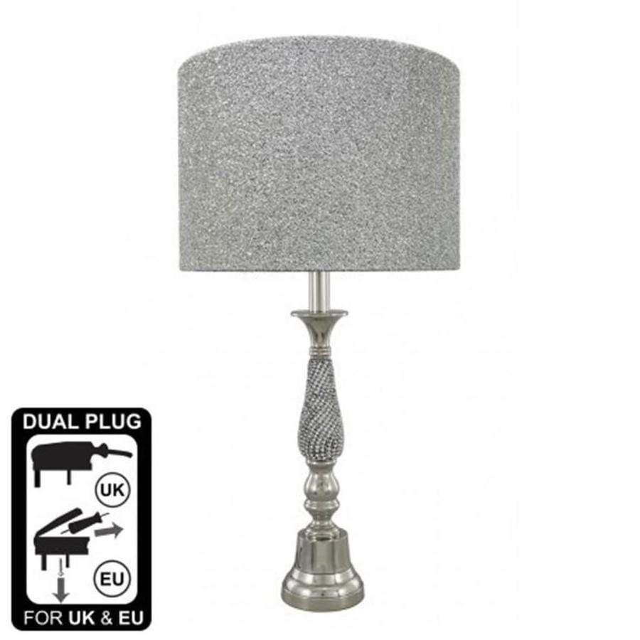 Silver Diamante Candlestick Table Lamp