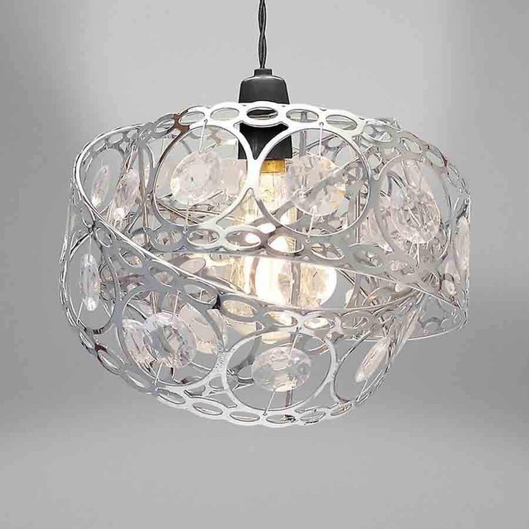 Silver Gem Wrap Metal Non Electrical Light Shade Pendant
