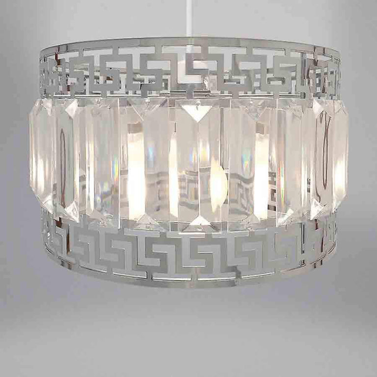 Silver Geometric Deco and Gem Non Electrical Light Shade Pendant