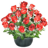 Sincere Artificial Red Rose Bud and Gypsophila Grave Pot