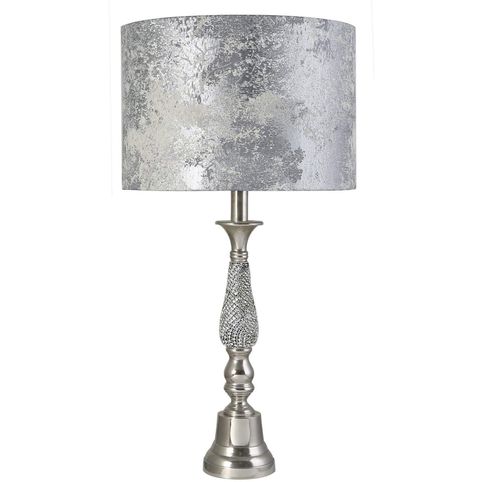 Small Nickel Diamante Table Lamp with Marble Grey Shade Small Nickel Diamante Table Lamp with Marble Grey Shade