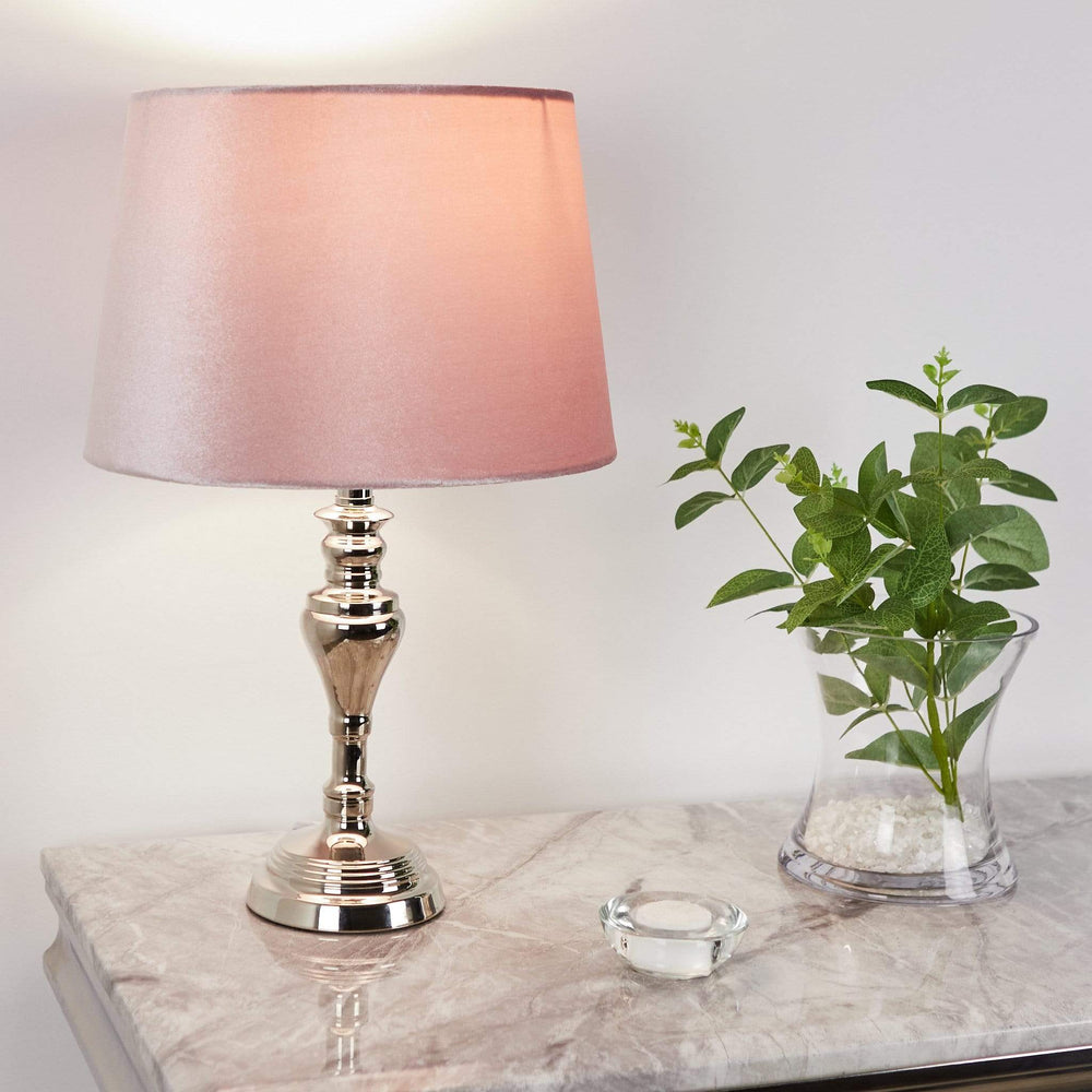 Small Sandringham Chrome Table Lamp With Pink Shade