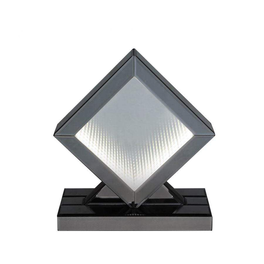Small Smoked Mirror LED Infinity Diamond Table Lamp