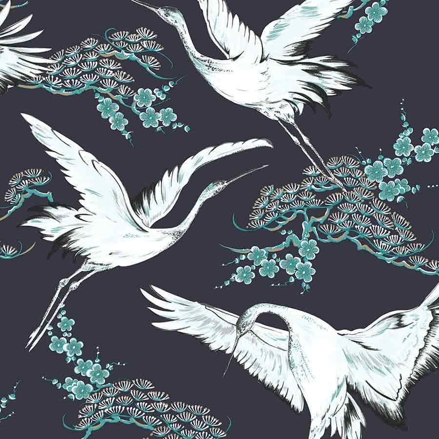 Superfresco Easy Crane Dark Blue Wallpaper Sample - 107002 Superfresco Easy Crane Dark Blue Wallpaper Sample - 107002