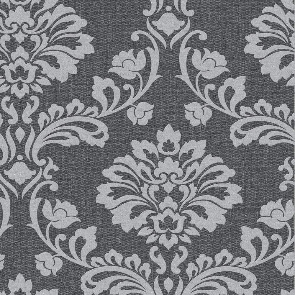 Superfresco Midas Aurora Black/Grey Damask Sample - 20-708
