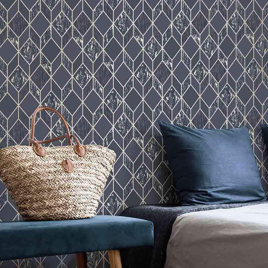 Superfresco Vittorio Geo Navy & Gold Wallpaper - 107964