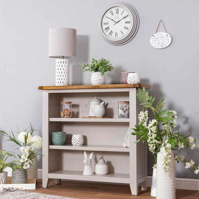Sussex Stone Grey Wide Bookcase