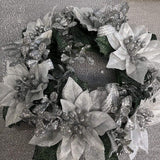 Swerox 8cm Silver Ribbon Poinsettia Candle Ring
