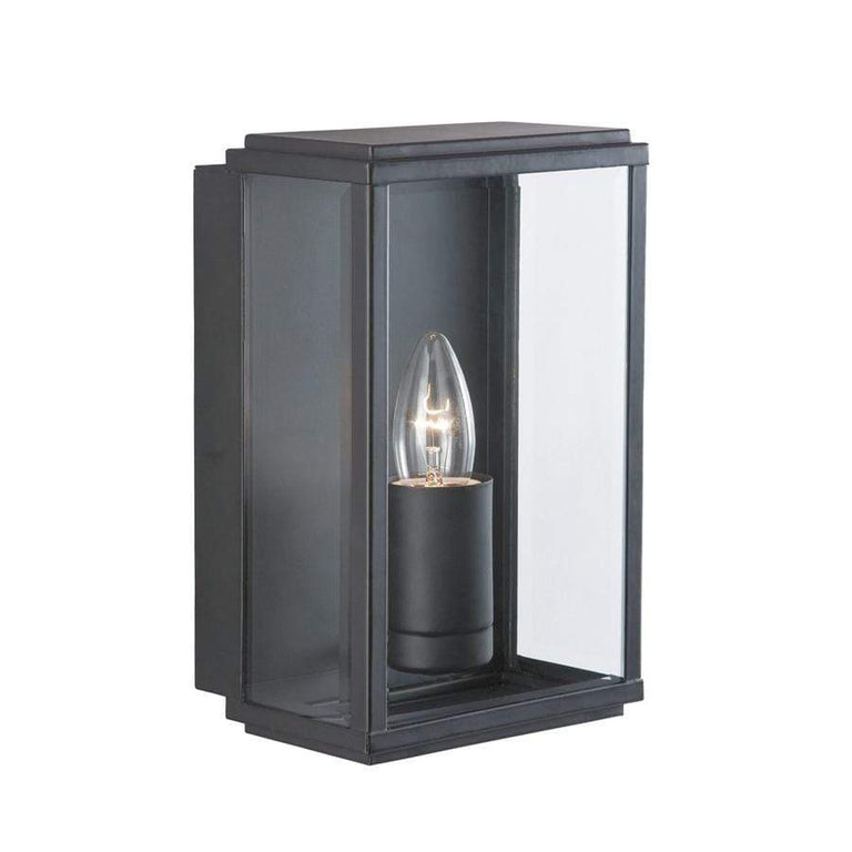 TAS 8204BK Rectangular Black Outdoor Wall Light with Bevelled Glass