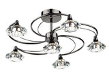 TAS LUT0667 Black Chrome 6 Light Crystal Light