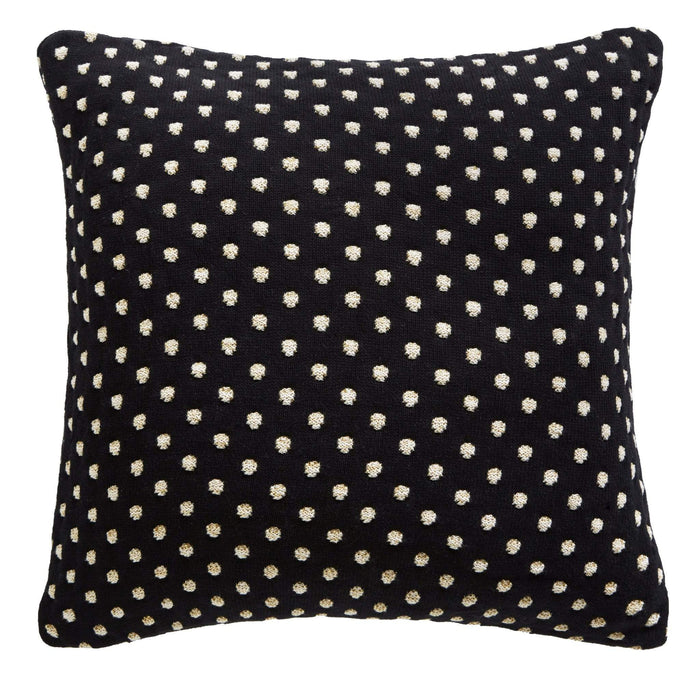 Tess Daly Black and Gold Polka Dot Knit Cushion Tess Daly Black and Gold Polka Dot Knit Cushion