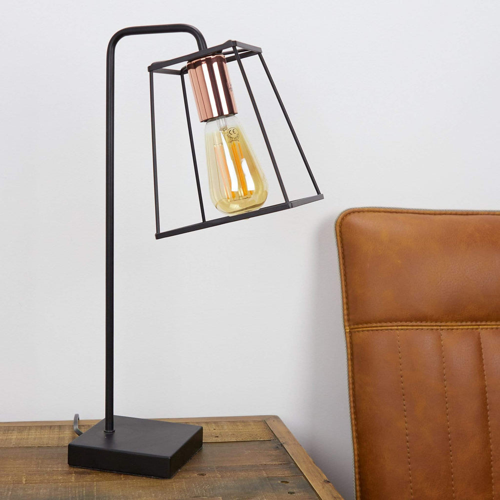 Tower Table Lamp Black & Copper