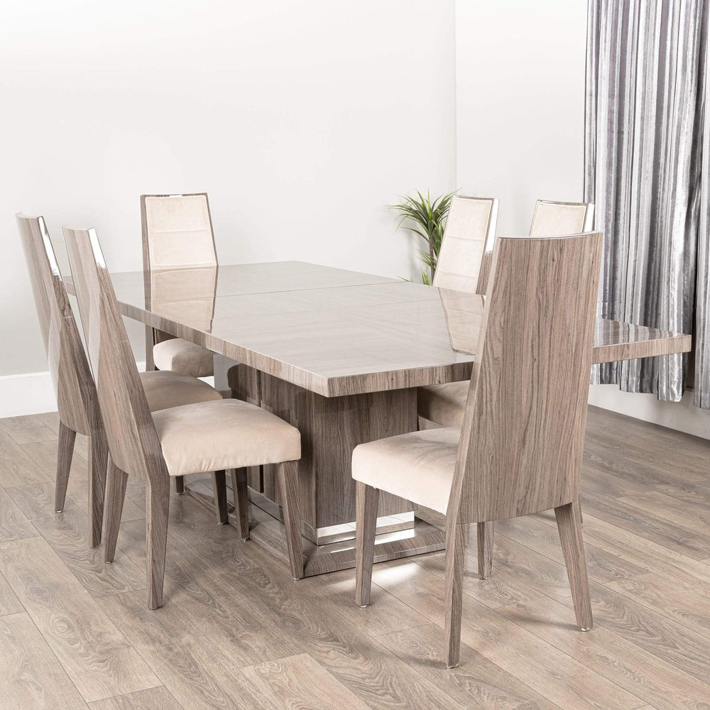 Viola High Gloss Dining Table Set   GCL VIOLA TABLE+9 CHAIRS