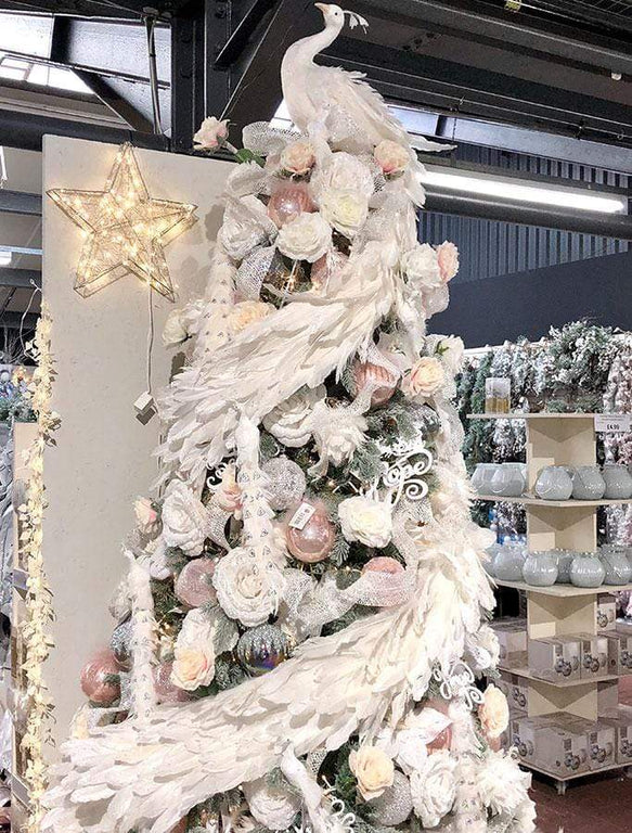 White Feather Peacock Tree Topper and Garland