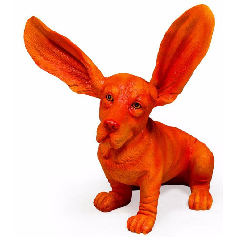William Francis Orange Surprised Basset Hound Figure